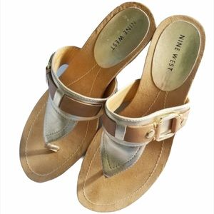 Nine West T Strap Gold & Tan Thong Wedge Sandals